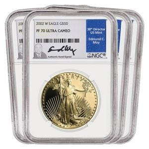 2002 Gold American Eagle SET PF70