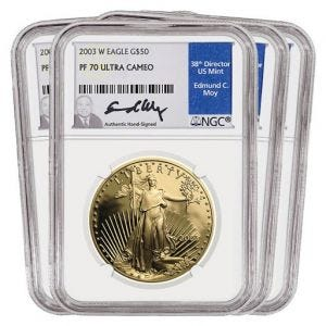 2003 Gold American Eagle SET PF70
